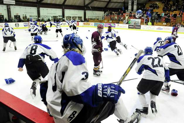 Saratoga Springs players jump the boards and take the ice in celebration of their 8-3 victory over Burnt Hills in their Division I hockey final on Thursday, Feb. 26, 2015, at Union College in Schenectady, N.Y. (Cindy Schultz / Times Union) Photo: Cindy Schultz / 00030761A