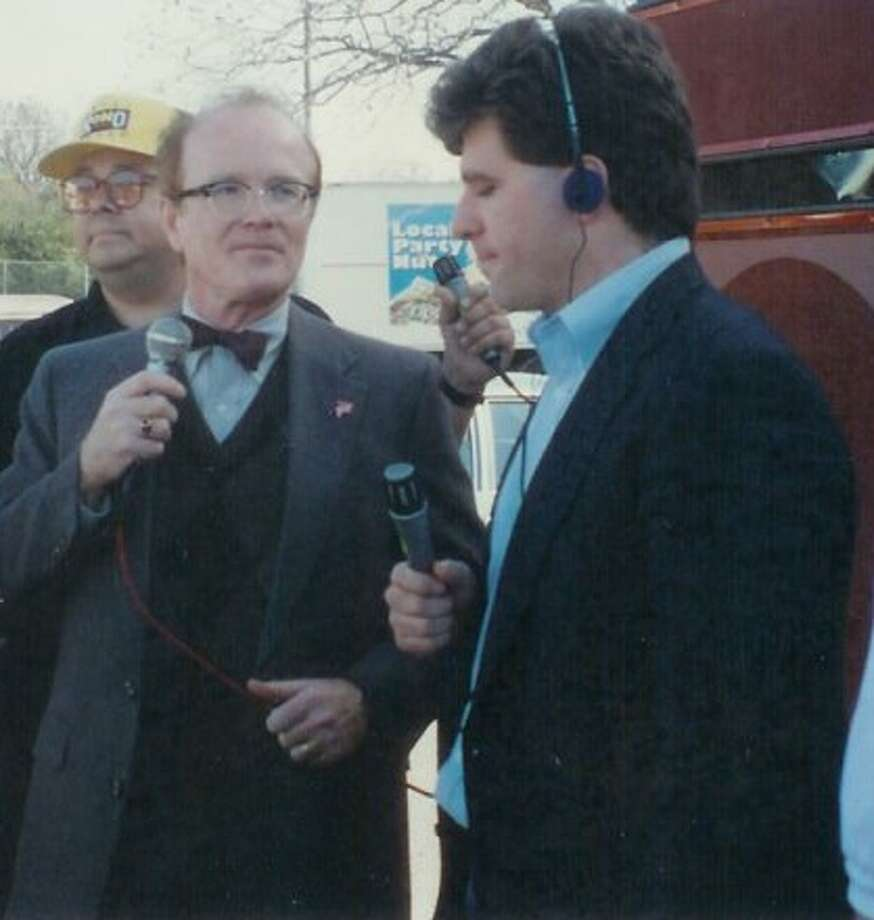 In his music radio days, Trey Ware did a live shot for the old Star-FM with Richard Sanders, aka Less Nessman of 'WKRP in Cincinnati.' Photo: Courtesy