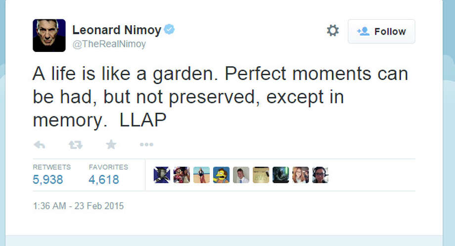 """Leonard Nimoy, famous for his role as Spock on """"Star Trek,"""" died at 83, February 27, 2015. URL:https://twitter.com/TheRealNimoy/status/569762773204217857 Photo: Twitter"""