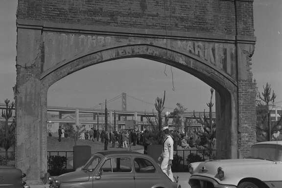The Colombo Market arch in Sidney Walton Square Park at the Golden Gateway development  Photo shot 06/14/1965