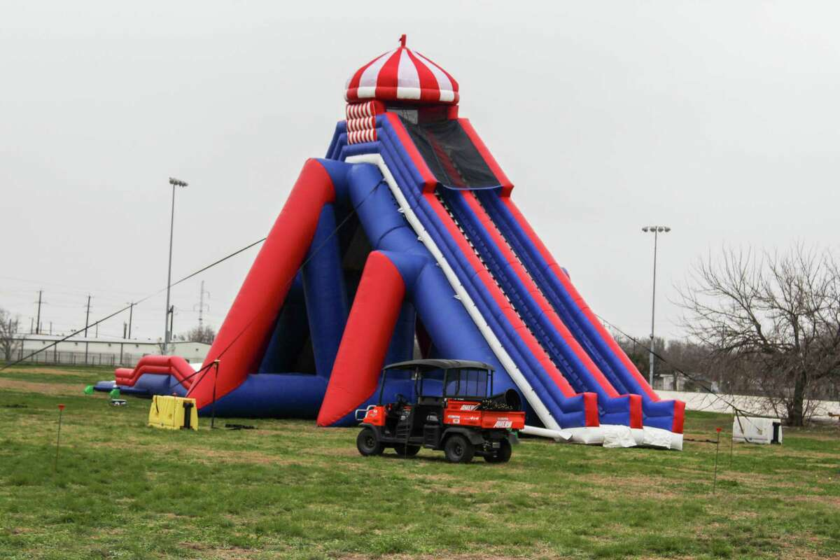 The Stunt Run 5K has partnered with Be The Match, which will benefit people with life-threatening blood cancers. The participants run through blow-up obstacles spread across the race course.