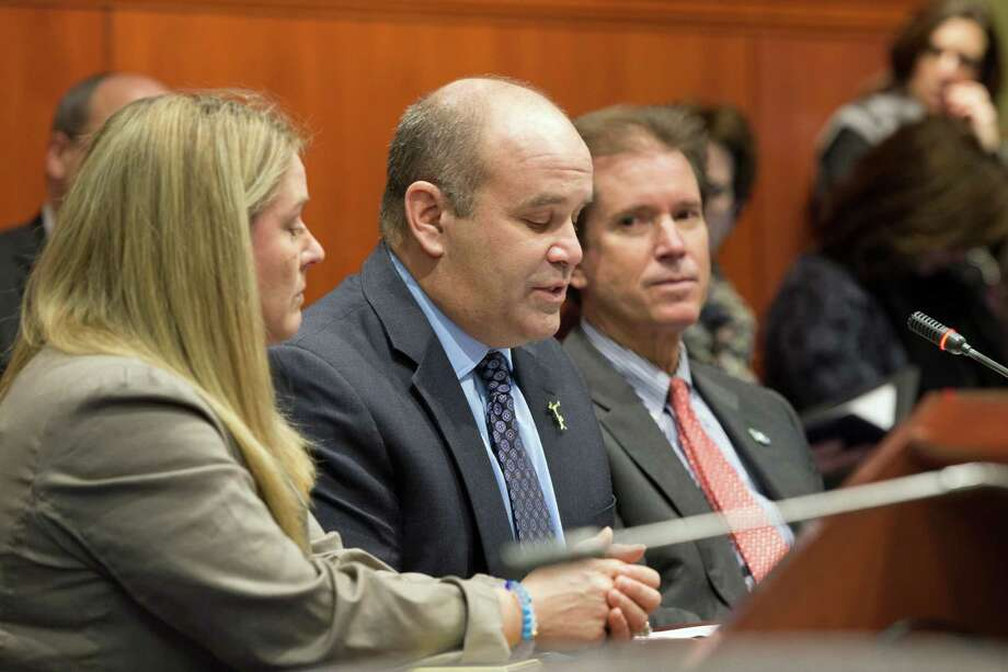 Greenwich resident Joseph Fedorko, center, testifies in favor of a boating safety bill before the General Assembly's Environment Committee in Hartford Friday. At his sides are wife Pam Fedorko and state Sen. L. Scott Frantz, R-36th. The Fedorkos' daughter, Emily, was killed while tubing behind a boat on Long Island Sound last August. Photo: Contributed Photo / Greenwich Time Contributed