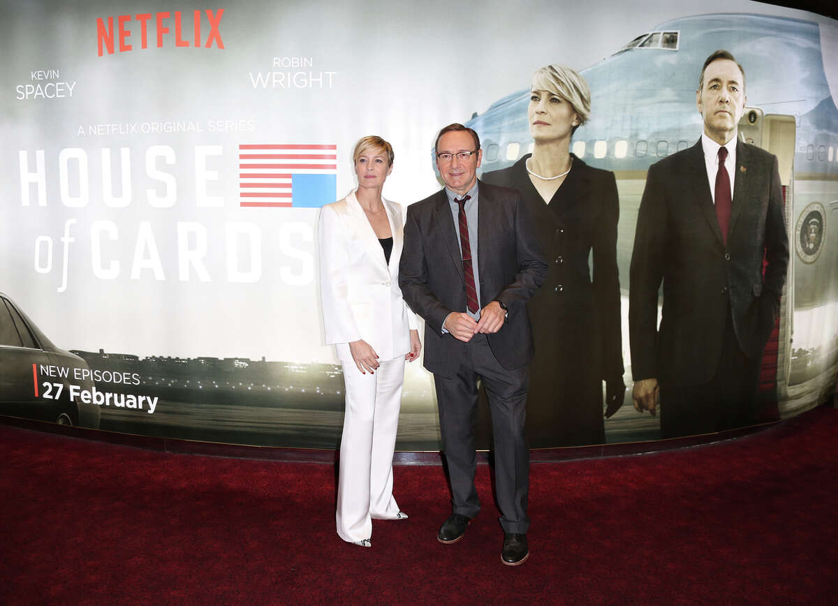 Robin Wright and Kevin Spacey arrive at the London premiere of season three of