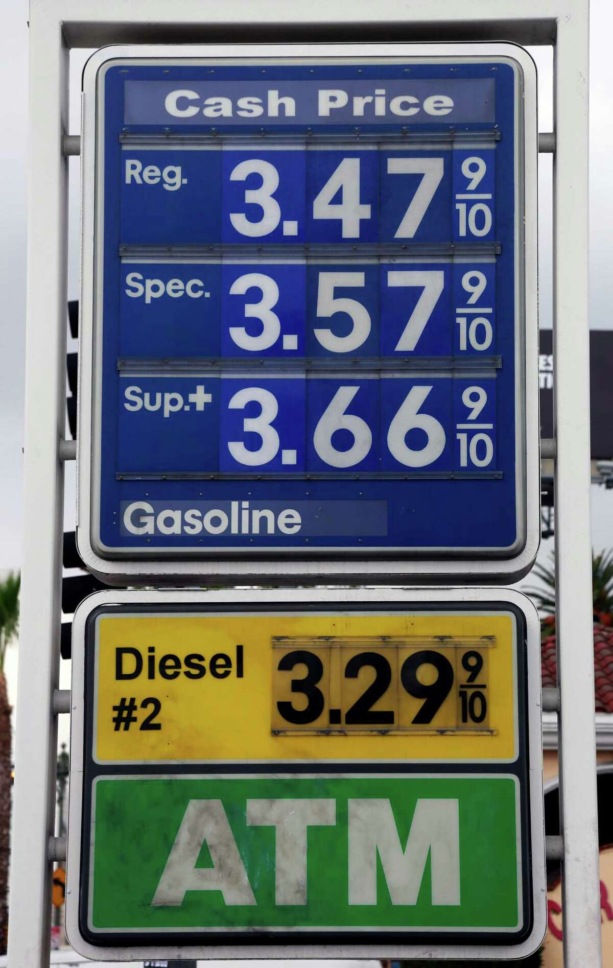 A sign at a gas station in Los Angeles posts the latest gas prices on Friday, Feb. 27, 2015. Gas prices in California soared overnight as a result of a combination of supply-and-demand factors worsened by the shutdown of two refineries that produce a combined 16 percent of the state's gasoline. (AP Photo/Nick Ut)