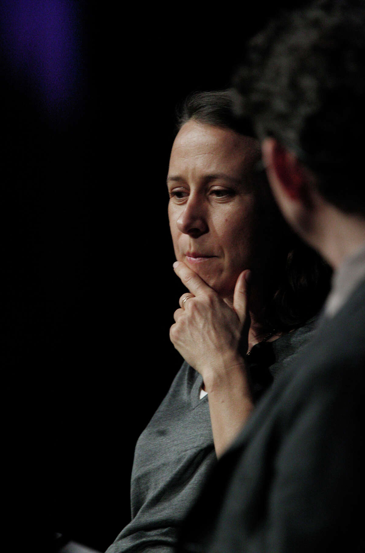 Anne Wojcicki and Thomas Goetz of Iodine appear on a panel at a conference in San Francsico in December.