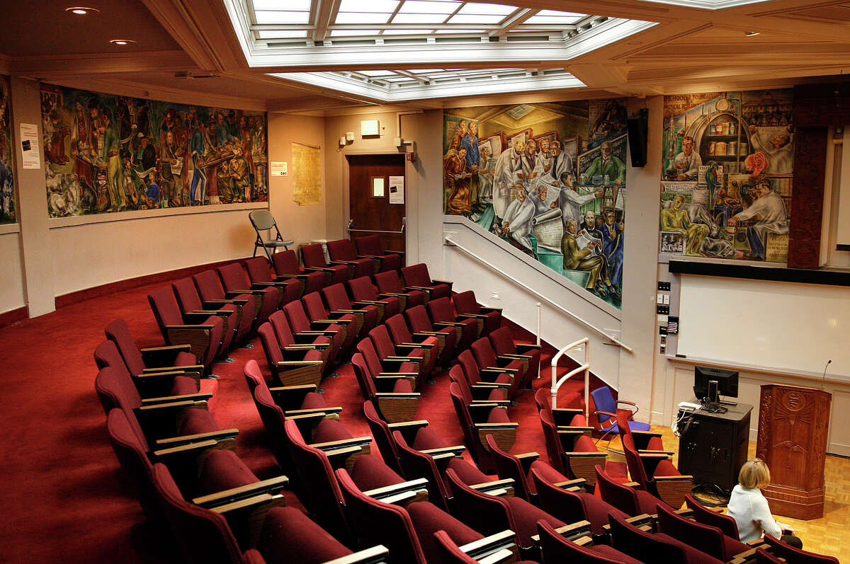 An overview of the 10 murals painted by artist Bernard Zakheim during the '30s in Toland Hall at UCSF's Parnassus Avenue campus.