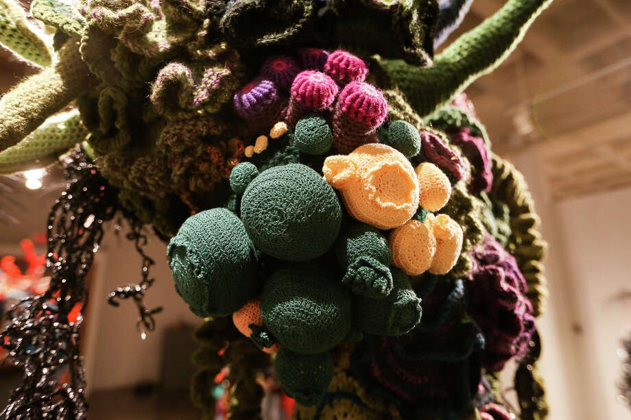 Crocheted sea anemones and other oceanic plant life were made from a crocheting technique based on hyperbolic geometry. Photo: Marvin Pfeiffer /San Antonio Express-News / Express-News 2015