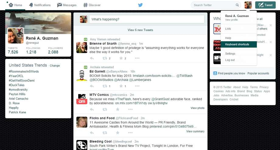 Screenshot of Twitter, showing how to access its keyboard shortcuts on its website. Photo: Screenshot