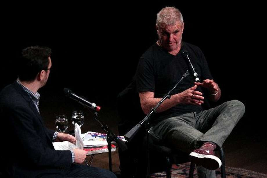 Jim Goldberg (right) talks with Randy Kennedy at SFJazz