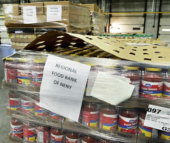 Some of the the 1,300 cases (17,780 pounds) of food that Price Chopper is donating to the Regional Food Bank of Northeastern New York at the Price Chopper distribution center Friday Feb. 27, 2015 in Schenectady, NY.  (John Carl D'Annibale / Times Union) Photo: John Carl D'Annibale / 00030804A