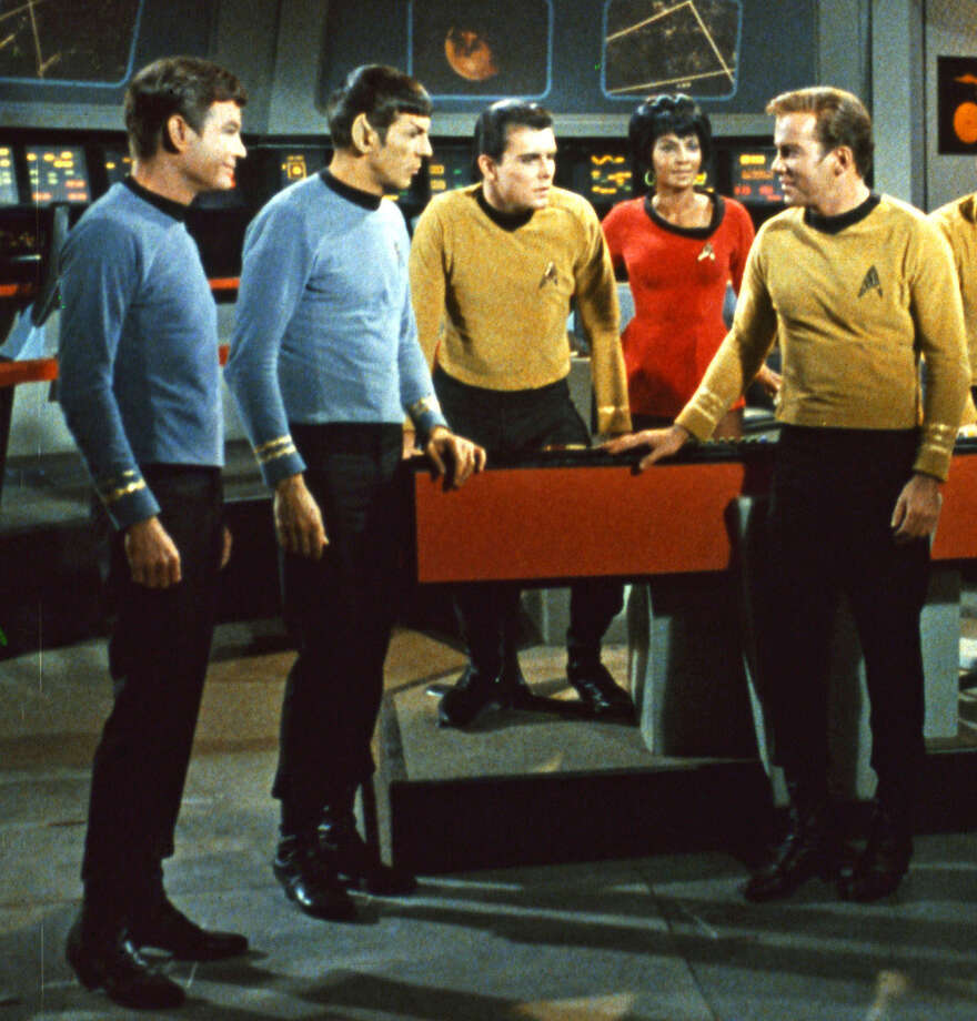 "FILE - This undated In this undated file photo released by Paramount Pictures, DeForest Kelley, left, Leonard Nimoy, second left, Nichelle Nichols, second right and William Shatner, right, appear in a scene from the TV series ""Star Trek."" Nimoy, famous for playing officer Mr. Spock in ""Star Trek"" died Friday, Feb. 27, 2015 in Los Angeles of end-stage chronic obstructive pulmonary disease. He was 83. (AP Photo/Paramount Pictures, File) ORG XMIT: NYET504 Photo: Anonymous / PARAMOUNT PICTURES"