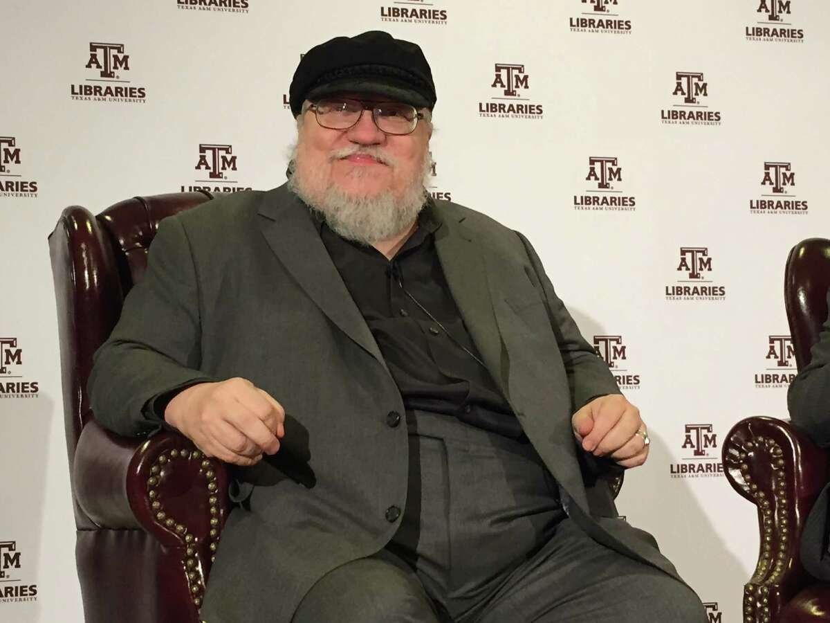 """""""Game of Thrones"""" author George R.R. Martin prepares to speak at Texas A&M University on February 27, 2015."""