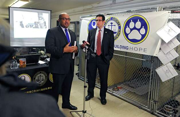 "Albany County District Attorney David Soares, left, speaks about updates to ""ACT"" Animal Cuelty Taskforce with Brad Shear, Director of the Mohawk Hudson Humane Society, during National Justice for Animals Week at the Mohawk Hudson Humane Society on Friday, Feb. 27, 2015 in Albany, N.Y. A couple of the updates included a new webpage and the launch of a new App. (Lori Van Buren / Times Union) Photo: Lori Van Buren / 00030808A"