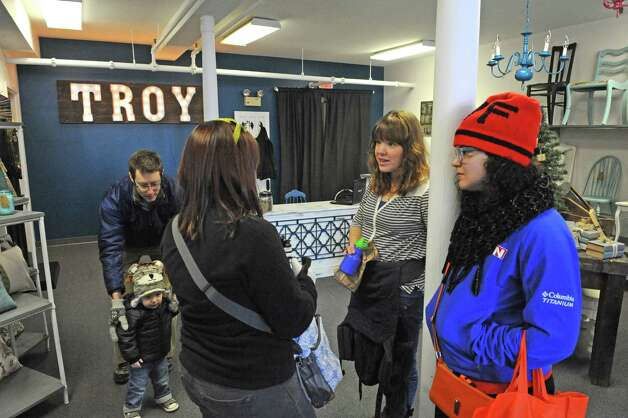 Jillian Borden, left, Nancy Barnes and Whitney Grey, right, shop at FunCycled a store specializing in repurposed furniture on River Street Saturday Nov. 22, 2014 in Troy, N.Y. (Michael P. Farrell/Times Union) Photo: Michael P. Farrell / 00029557C