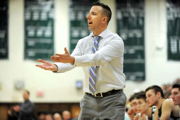 Schalmont's coach Greg Loiacano challenges a call during their Class B boys basketball game against Cohoes on Friday, Feb. 27, 2015, at Shenendehowa High in Clifton Park, N.Y. (Cindy Schultz / Times Union) Photo: Cindy Schultz / 00030778A
