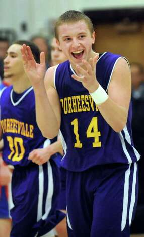 Voorheesville's Sean Nolan celebrates their 61-59 overtime win over Broadalbin in their Class B boys basketball game on Friday, Feb. 27, 2015, at Shenendehowa High in Clifton Park, N.Y. (Cindy Schultz / Times Union) Photo: Cindy Schultz / 00030778A