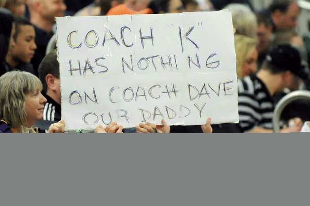 Voorheesville fans show a sign of support for coach David Burch during their Class B boys basketball game against Voorheesville on Friday, Feb. 27, 2015, at Shenendehowa High in Clifton Park, N.Y. (Cindy Schultz / Times Union) Photo: Cindy Schultz / 00030778A