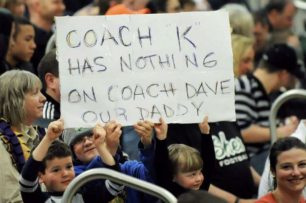 Voorheesville fans show a sign of support for coach David Burch during their Class B boys basketball game against Broadalbin on Friday, Feb. 27, 2015, at Shenendehowa High in Clifton Park, N.Y. (Cindy Schultz / Times Union) Photo: Cindy Schultz / 00030778A
