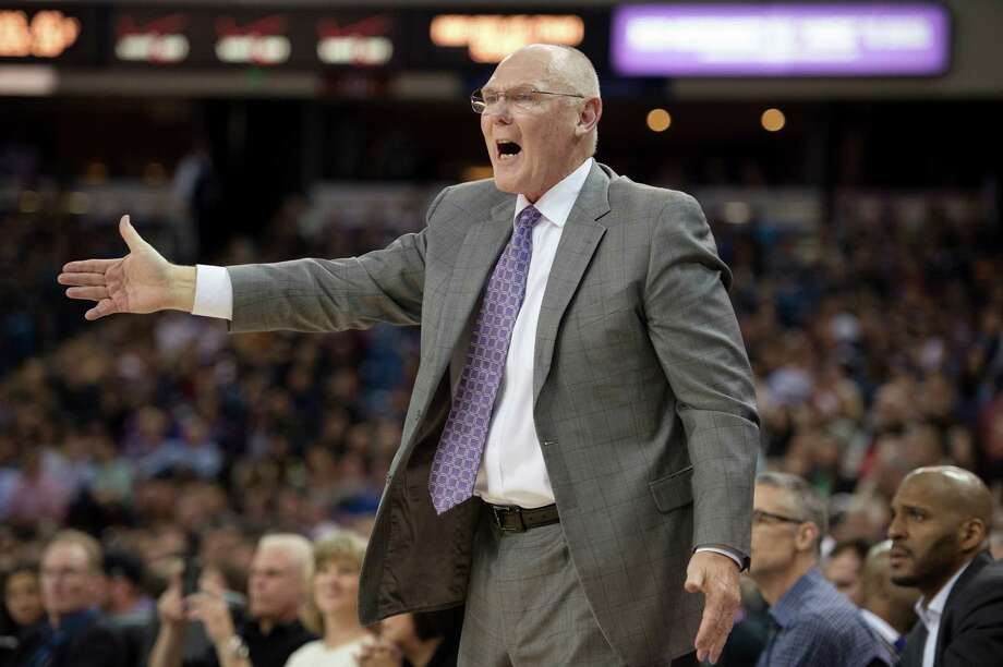 Sacramento Kings head coach George Karl argues a call in the fourth quarter against the San Antonio Spurs on Friday at Sleep Train Arena in Sacramento, Calif. Photo: Jose Luis Villegas /McClatchy-Tribune News Service / Sacramento Bee
