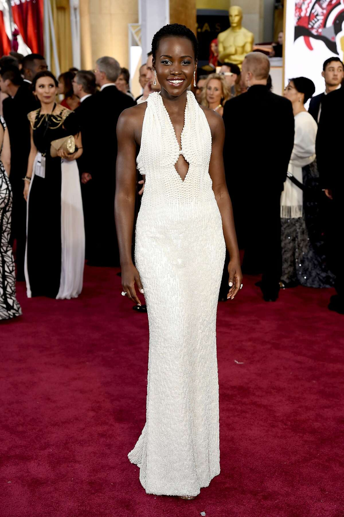 9. CALVIN KLEIN: $150,000 Lupita Nyong'o arrived at the Oscars wearing a dress made of roughly more than 6,000 pearls. It was later stolen from her dressing room, only to be returned days later.