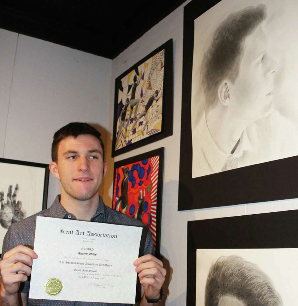 Austin Dilts, a student at South Kent School, was one of nine winners at the recent Kent Art Association student art show. Austin was recognized for his self-portrait, shown here, upper right. February 2015 Courtesy of Kent Art Association