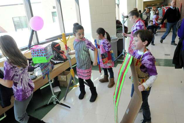 Voorheesville Elementy students gather their props during the 2015 Odyssey of the Mind Tournament at Shenendehowa High School on Saturday Feb. 28, 2015 in Clifton Park, N.Y. (Michael P. Farrell/Times Union) Photo: Michael P. Farrell / 00030818A