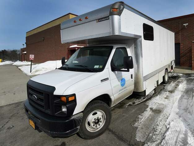 The Whitney M. Young Healthvan is ready for service Tuesday morning, Feb. 24, 2015, at the Turnpike Elementary School in Troy, N.Y. (Skip Dickstein/Times Union) Photo: SKIP DICKSTEIN / 00030621A