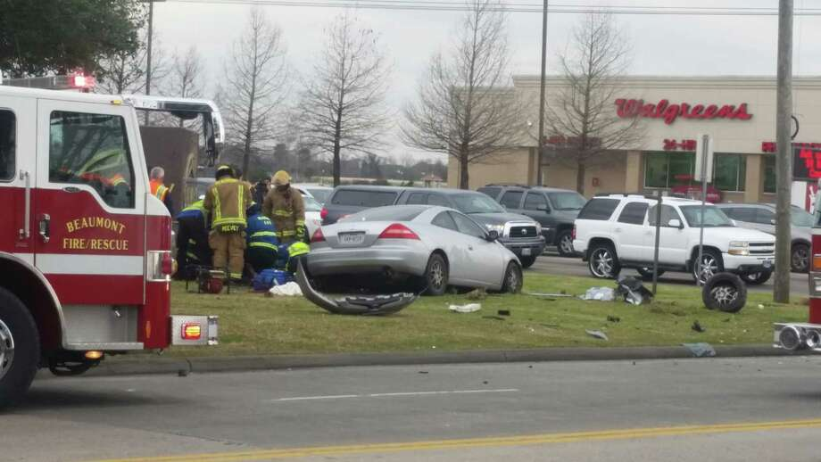 An accident at Folsom and Dowlen sent one person to the hospital Saturday.