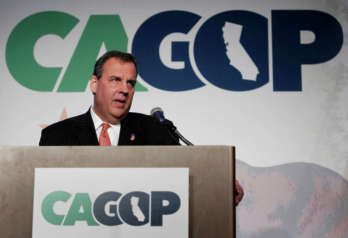 New Jersey Gov. Chris Christie delivers the keynote address at the California Republican Party Spring Convention in Sacramento, Calif. on Saturday, Feb. 28, 2015.