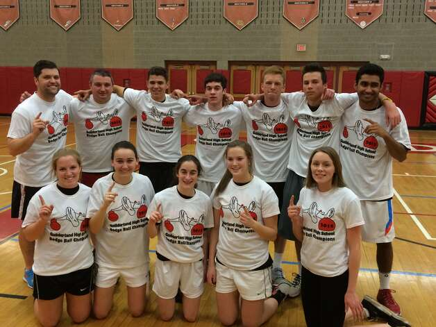 The Pillsbury Throwboys were one of the teams competing in Friday's Dodgeball tournament at Guilderland High School, which raised more than $2,000 for the Altamont Food Pantry.