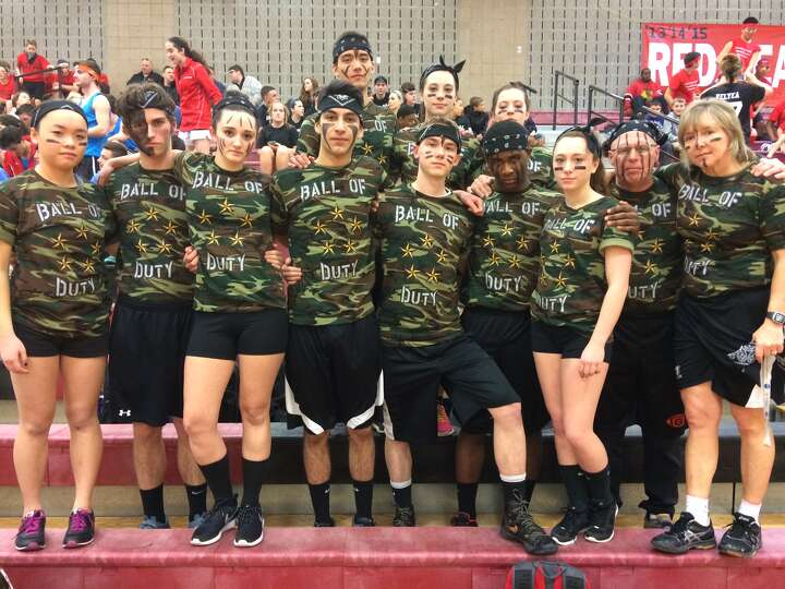 One of the teams competing in Friday's Dodgeball tournament at Guilderland High School, which raised