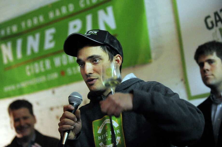 Owner Alejandro Del Peral speaks during a one-year anniversary party on Saturday, Feb. 28, 2015, at Nine Pin Cider Works in Albany, N.Y. (Cindy Schultz / Times Union) Photo: Cindy Schultz / 00030817A