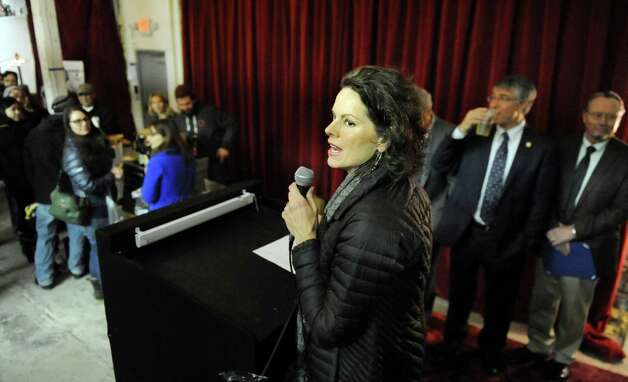 Assemblywoman Patricia Fahy, center, speaks during a one-year anniversary party on Saturday, Feb. 28, 2015, at Nine Pin Cider Works in Albany, N.Y. (Cindy Schultz / Times Union) Photo: Cindy Schultz / 00030817A