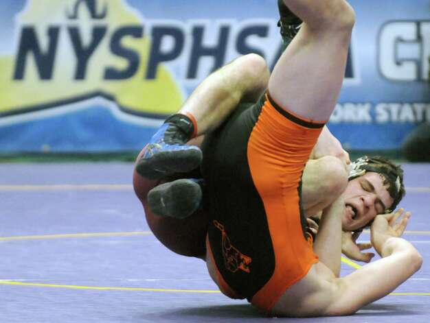 Burnt Hills Jacob Ashcraft defeated Ryan Schlager of Clarencein the 182lb. semi-final during the 2015 State Wrestling Tournament at the Times Union Center on Saturday Feb. 28, 2015 in Albany, N.Y. (Michael P. Farrell/Times Union) Photo: Michael P. Farrell / 00030818A