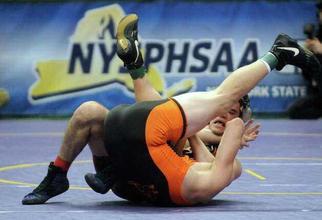 Burnt Hills Jacob Ashcraft defeated Ryan Schlager of Clarence in the 182lb. semi-final during the 2015 State Wrestling Tournament at the Times Union Center on Saturday Feb. 28, 2015 in Albany, N.Y. (Michael P. Farrell/Times Union) Photo: Michael P. Farrell / 00030781B