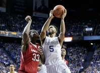 LEXINGTON, KY - FEBRUARY 28:  Andrew Harrison #5 of the Kentucky Wildcats shoots the ball during the game against the Arkansas Razorbacks at Rupp Arena on February 28, 2015 in Lexington, Kentucky.  (Photo by Andy Lyons/Getty Images) ORG XMIT: 519880437