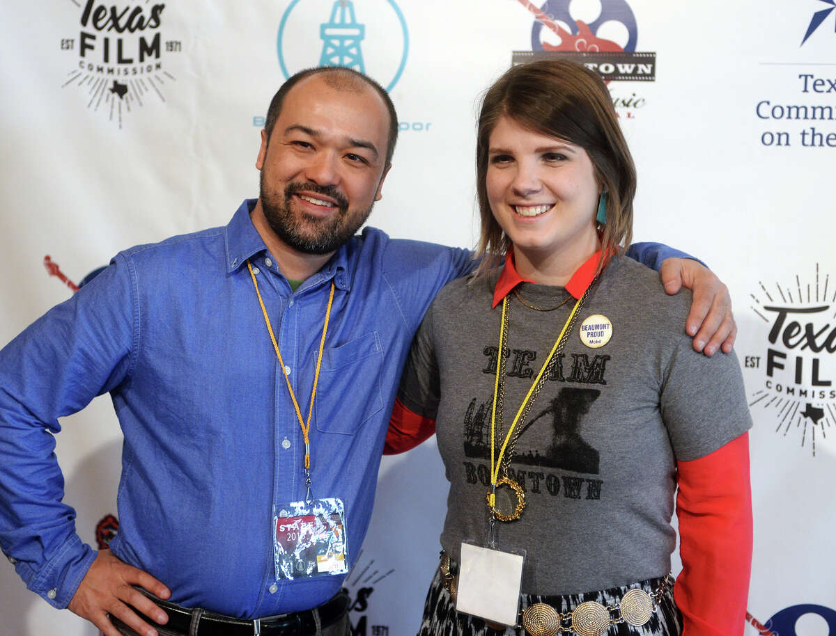 Bryan Lee and Sheena McCrary pose for a photo during Boomtown Fest on Saturday. Saturday was the final day of the 8th annual Boomtown Film and Music Festival, and featured movies, music, and vendors at the Jefferson Theater, the Art Museum of Southeast Texas, and the Logon Cafe. Photo taken Saturday 2/28/15 Jake Daniels/The Enterprise