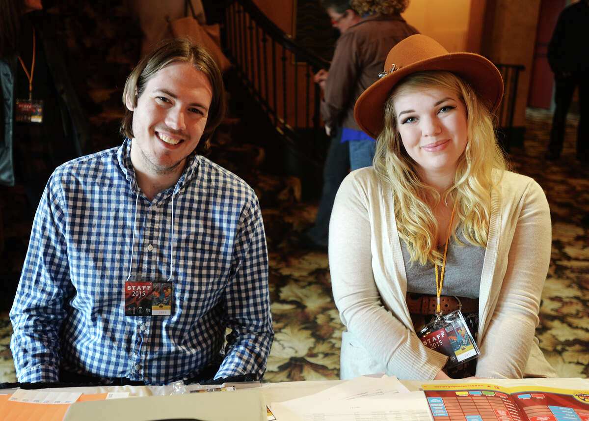 Carl Husband and Amanda Potts pose for a photo during Boomtown Fest on Saturday. Saturday was the final day of the 8th annual Boomtown Film and Music Festival, and featured movies, music, and vendors at the Jefferson Theater, the Art Museum of Southeast Texas, and the Logon Cafe. Photo taken Saturday 2/28/15 Jake Daniels/The Enterprise