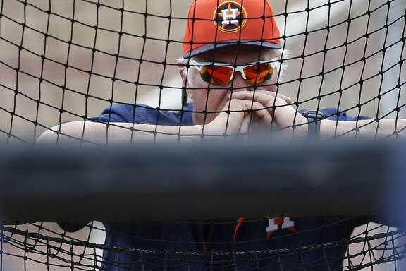 Triple A Fresno pitching coach Leon Roberts watches batters during Houston Astros spring training workouts at the Osceola County facility, Sunday, March 1, 2015, in Kissimmee. ( Karen Warren / Houston Chronicle  )