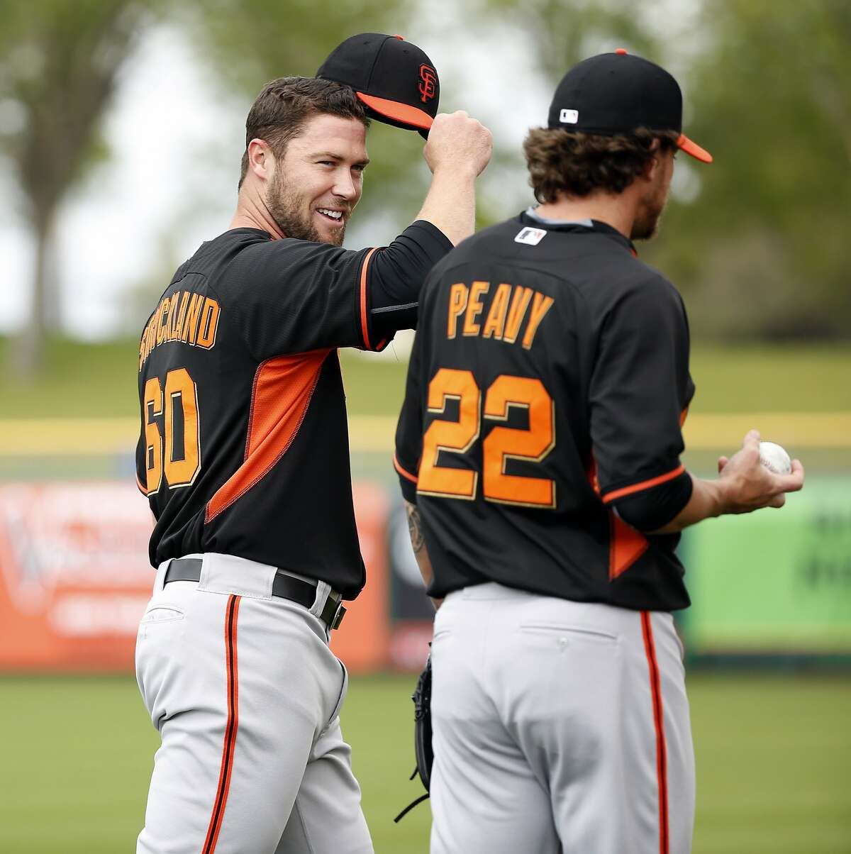 Hunter Strickland and Jake Peavy during Spring Training at Scottsdale Stadium in March 2015.