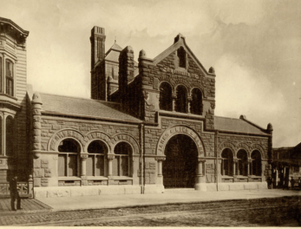The James Lick Baths at 165 10th St. as it appeared after it was built in 1890. The original design was by the firm Wright & Sanders, but the 1906 earthquake ravaged the tower and the sandstone walls.