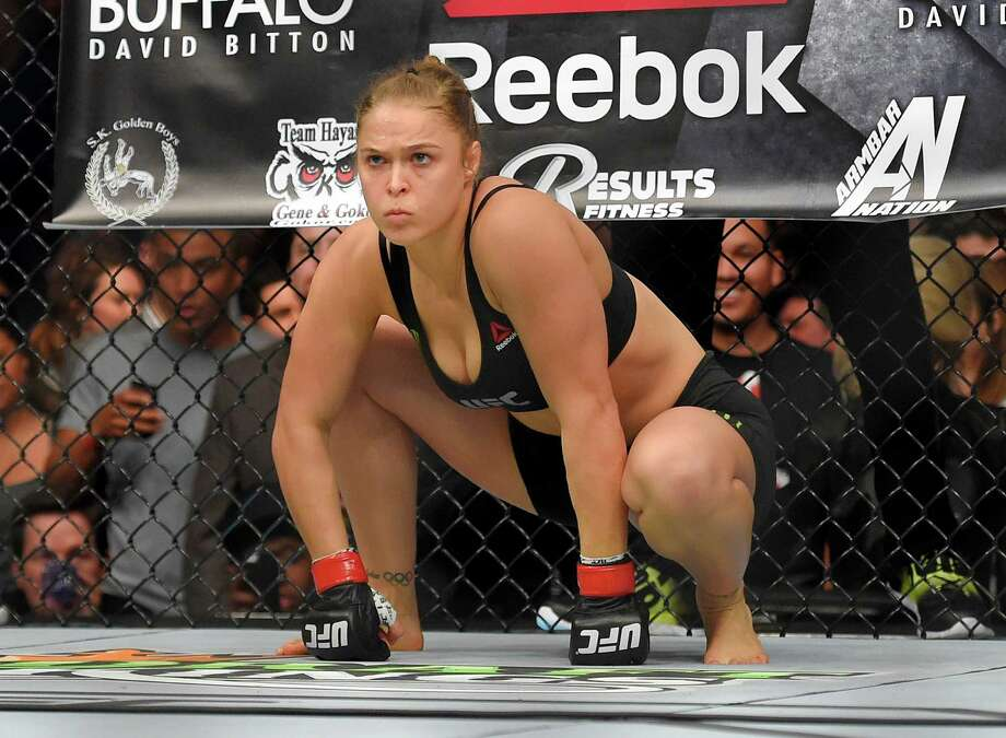 Ronda Rousey gets ready to fight Cat Zingano in a UFC 184 mixed martial arts bantamweight title bout, Saturday, Feb. 28, 2015, in Los Angeles. Rousey won after Zingano tapped out 14 seconds into the first round. Photo: Mark J. Terrill, AP / AP
