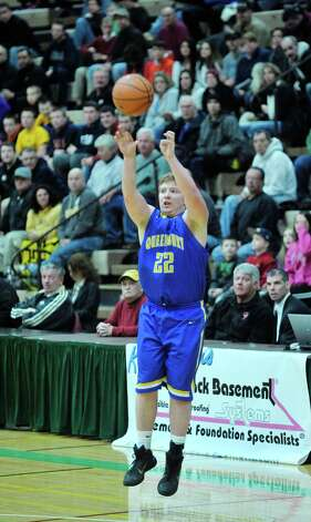 Bailey Dray Queensbury  puts up a shot during their Class A quarterfinal game against Amsterdam at Hudson Valley Community College on Sunday, March 1, 2015, in Troy, N.Y.    (Paul Buckowski / Times Union) Photo: PAUL BUCKOWSKI / 00030785A