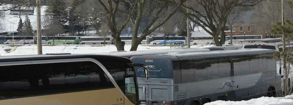 Numerous passenger buses lined the roads in Lincoln Park on Lobby Day, March 4, 2014 in Albany.  Thi