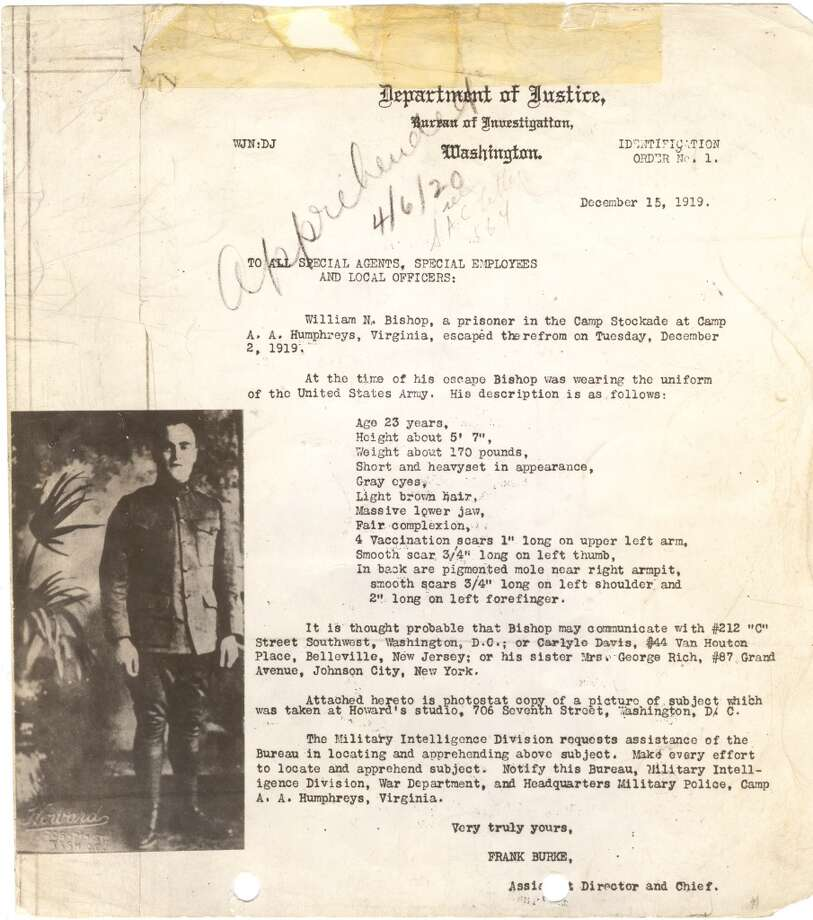 The Beginning. This 1919 dispatch to all agents regarding William Bishop, a military deserter, is considered to be the orign of the use of wanted posters by the FBI, then known as the Bureau of Investigation.