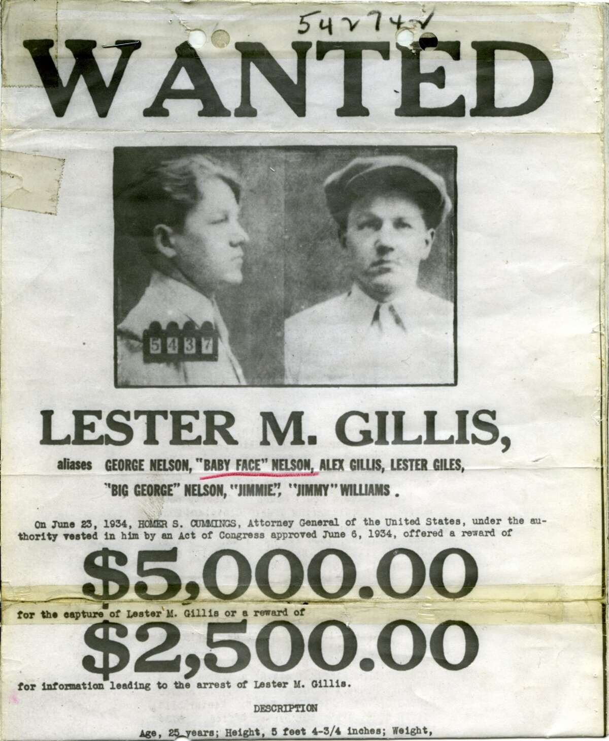 Baby Face Nelson was really named Lester Gillis. A police officer killed the gangster in 1934 as he robbed a bank.