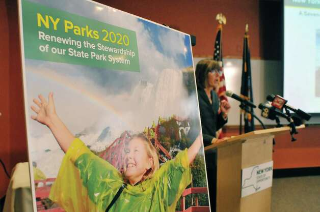 New York State Parks Commissioner Rose Harvey unveils the $900 million NY Parks 2020 plan during a press conference at Saratoga Spa State Park on Monday, March 2, 2015, in Saratoga Springs, N.Y.  Spa State Park will see improvements through funding in the plan.  (Paul Buckowski / Times Union) Photo: PAUL BUCKOWSKI / 00030803A