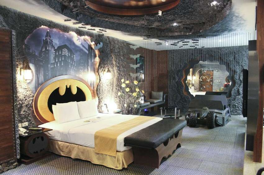 The Eden Motel offers this totally awesome room with Batman emblems and memorabilia throughout the room.