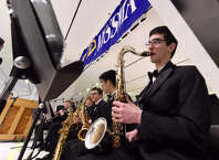 Members of the NYSSMA All Star Jazz Ensemble performs Monday, March 3, 2015, at the Empire State Plaza in Albany, N.Y. (Skip Dickstein/Times Union)
