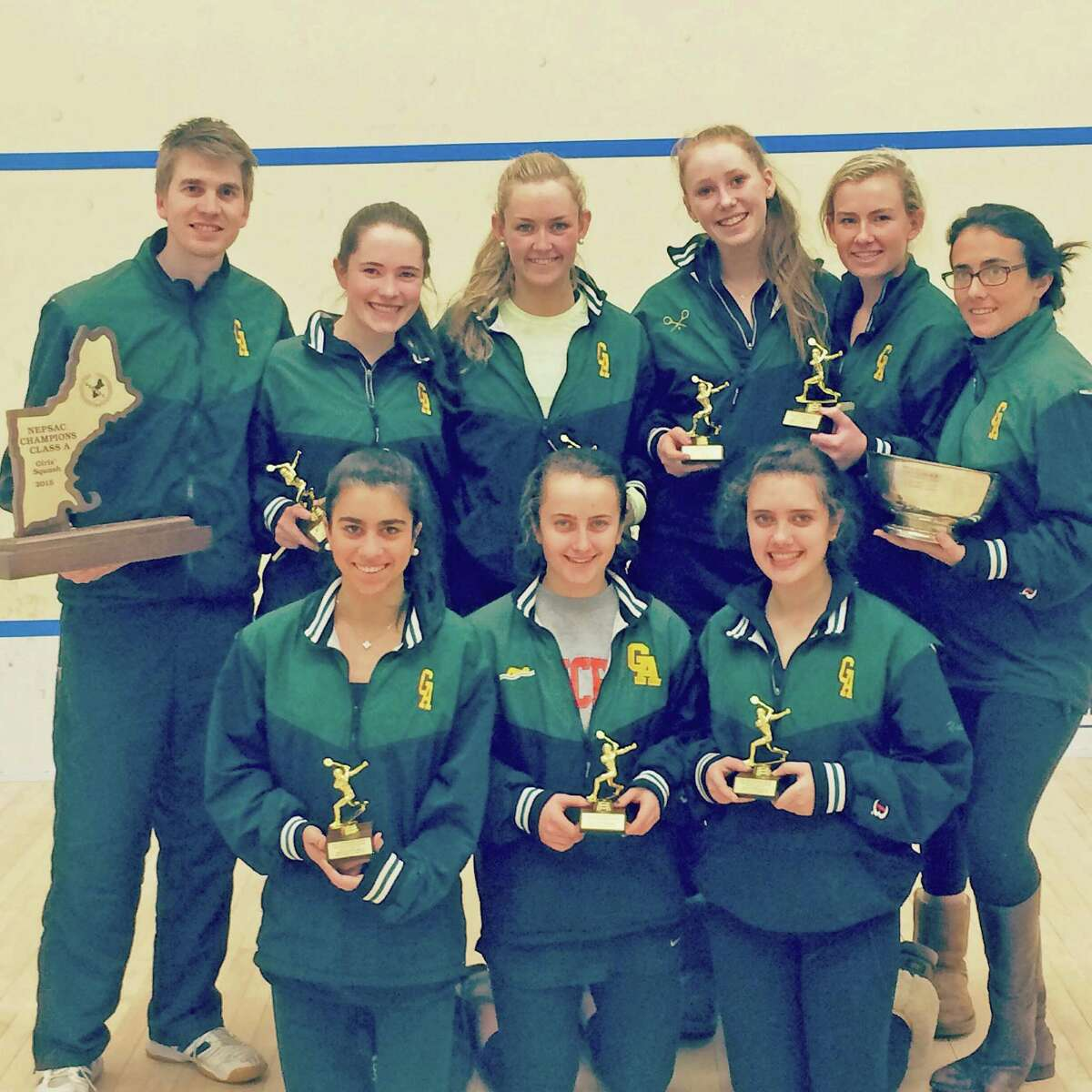 The Greenwich Academy squash team won the New England Interscholastic Squash Association Division A Championship Sunday at Choate Rosemary Hall. The victory gave the Gators their 17th New England title overall. Pictured, back row from left: Coach Luke Butterworth, Emma Mactaggart, Kayley Leonard, Haley Scott, Emme Leonard, Assistant Coach Izzy Spyrou. Front row from left: Isabelle Ezratty, Kate Feeley, Jessica Yacobucci.